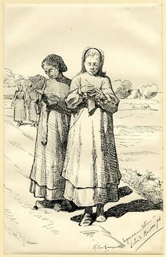 Two peasant women standing, knitting; a landscape and other women behind at l Pen and black ink