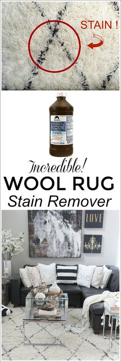 This is INCREDIBLE! See how I removed a stubborn tea stain out of our wool Moroccan shag area rug using hydrogen peroxide. This cleaning tip completely removed the stain and didn't discolor our carpet!