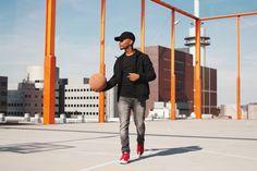 softshell jacket cap basketbal orange rooftop field