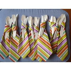 Neck tie party utensils for baby boy shower