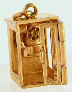 """14 Karat Yellow Gold """"Keep Ringing My Heart"""" Movable Telephone Booth Charm"""
