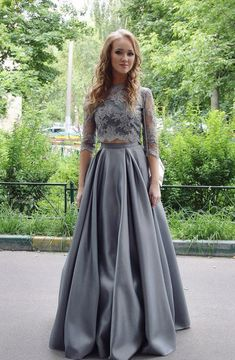 Two Piece Jewel Floor-Length 3/4 Sleeves Grey Stretch Satin Prom Dress with Lace
