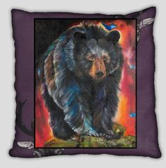 Bear Pillow with Purple Background