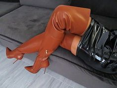 Black latex minidress and brown thigh boots #highheelbootslatex