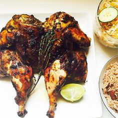 What's for dinner today? Recipes at http://jamaicans.com/recipes/  by @nikatucker #jerkchicken #riceandpeas #cabbage #dinner #sunday #foodporn #jamaica