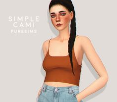 """simple cami """"new mesh / 12 swatches (mostly neutral colors) / has morphs / not HQ mod compatible / high poly: around 4.4k poly for LOD_0 """" download @ my blog"""