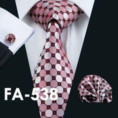 Gents 100% Silk Jacquard Necktie, Hanky, Cufflinks Set