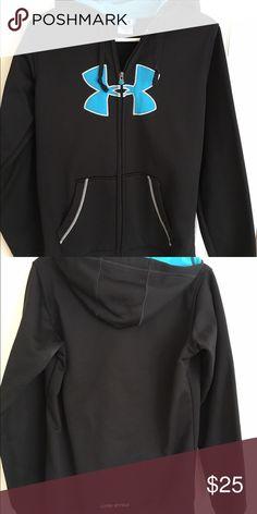 Full zip sweatshirt Under Armour full-zip hooded sweatshirt.  Black & aqua Under Armour Tops Sweatshirts & Hoodies