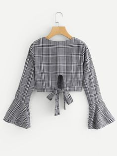 Fluted Sleeve Bow Tie Back Wrap TopFor Women-romwe - Blusas Girls Fashion Clothes, Teen Fashion Outfits, Trendy Outfits, Trendy Fashion, Korean Fashion, Girl Fashion, Girl Outfits, Fashion Dresses, Cute Outfits