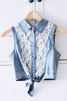Colete Jeans com aplique de renda, lindo! #diy #inspiração