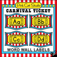 These fun Carnival Ticket theme word wall labels will look fantastic on your classroom wall! This set is so versatile because you can make any word. Circus Theme Classroom, Classroom Decor Themes, Classroom Jobs, Classroom Walls, Carnival Tickets, Carnival Themes, Word Wall Labels, Blank Labels, Theme Words