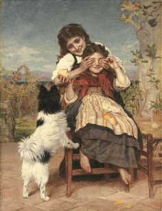 Sophie Gengembre Anderson was a French-born British artist who specialised in genre painting of children and women, typically in rural settings. She began her career as a lithographer and painter o… Gustav Klimt, Munier, Sophie Anderson, Papillon Dog, Kairo, Web Gallery, Pre Raphaelite, Victorian Art, Cute Illustration