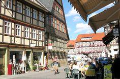 Die Marktstraße und der Marktplatz in Wernigerode.