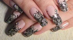 Black Butterfly Lace Nail Art Tutorial