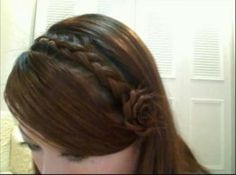 Today's Daily Do features a Dutch Braid Headband with Corsage look.  I've always liked braids, especially headband braids, which are like the new trend. It's kind of sad how my hair is layered and sort of short at the moment or else I would totally attempt this really pretty hairstyle! Unlike most headband braids, which simply just go across the head and don't really feature anything else, this one even incorporates a flower at the side for added prettiness!