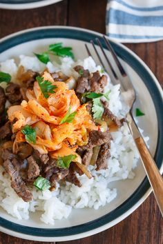 This beef bulgogi could not be simpler to make. A quick soy marinade leads to incredibly tasty meat topped with kimchi and served over a platter of rice. A great weeknight dinner!