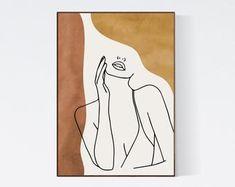 Woman Face Single Line Drawing, Abstract Face Line Art Print, Bohemian Neutral Colors Wall Art, Line Art Earth Tones Minimal Art Boho Decor - Face Line Drawing, Single Line Drawing, Drawing Hair, Gesture Drawing, Drawing Faces, Art Abstrait Ligne, Art Minimaliste, Art Visage, Abstract Face Art