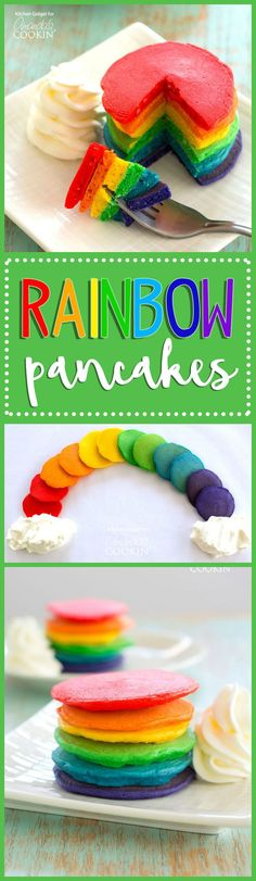 Liven up your St. Patrick's Day breakfast, or surprise that unicorn loving child of yours with these beautiful rainbow pancakes that you made from scratch!