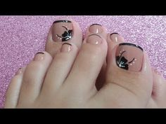 DISEÑO DE UÑAS PARA PIES FLORES SENCILLAS - FLOWERS NAIL ART - NLC - YouTube Square Nail Designs, Toe Nail Designs, Nail Polish Designs, Pedicure Designs, Pedicure Nail Art, Toe Nail Art, Cute Toe Nails, Pretty Nails, French Nails