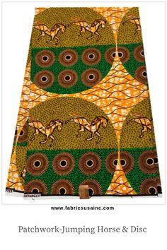 Wax fabric large discs yellow orange Green Brown