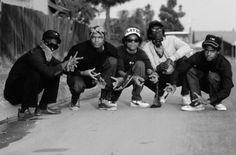 Circa 1984, Compton– Crips in Los Angeles' Compton district. — Image by © Daniel LainÈ/CORBIS