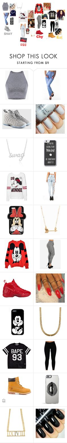 """""""Outfits For Raj B-Day Party"""" by yogurl-riyaa ❤ liked on Polyvore featuring NIKE, Belk & Co., Disney, Forever 21, Minnie Grace, A BATHING APE, Timberland and Lipsy"""