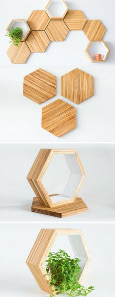 Recycled chopsticks are transformed into these honeycomb shelves and wall tiles Source by noteyteam Recycled Crafts, Wood Crafts, Diy And Crafts, Diy Art Projects, Wood Projects, Decoration Bedroom, Diy Home Decor, Design Crafts, Diy Design