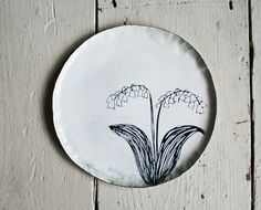 enamel lily of the valley plate by buddug humphreys