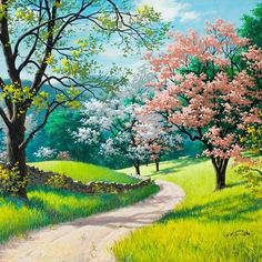 Scenery and Nature lovers will love this beautiful Scenery Light Path paint by number kit. Release your stress and Express your creativity. Shop hundreds of Paint by Number Kits for Adults at our store. Our Kits include everything you need to get started. Fantasy Landscape, Landscape Art, Landscape Paintings, Spring Landscape, Landscape Fabric, Fantasy Pictures, Nature Pictures, Beautiful Nature Wallpaper, Beautiful Landscapes