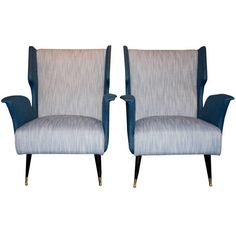 Pair of armchairs, bronze feet, completely redone, circa 1960, Italy. | From a unique collection of antique and modern armchairs at https://www.1stdibs.com/furniture/seating/armchairs/