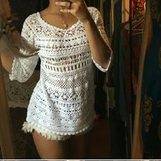 GORGEOUS white crochet top Boho! Perfect!! Stunning!! Will fit a small or medium. Tops