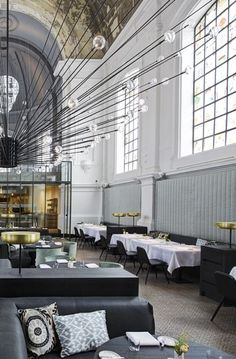The Jane - Groen Kwartier, Antwerp Belgium - is housed within the chapel of a former military hospital - design by Piet Boon - chandelier created by Beirut based PSlab – Stained glass windows by Studio Job Jane Restaurant, Small Restaurant Design, Bar Interior, Luxury Interior Design, Hospital Design, Restaurants, Commercial Interiors, Boutique, Belgium