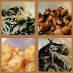 お弁当用作り置き。 もやしとわかめのナムル、鞍掛豆の煮物、じゃが芋の甘辛煮、ひじきと玉ねぎの塩煮。