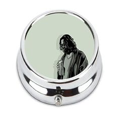 The Dude The Big Lebowski Custom Fashion HOT Round Pill Box stainless steel Useful Medicine Organizer  sc 1 st  Pinterest & 1 X Pill Box WaterProof Rubber Air Tight Silvery Aluminum Drug ... Aboutintivar.Com