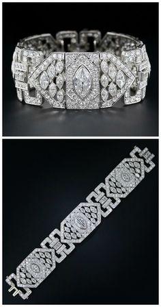 A stunning Art Deco 26 carat diamond and platinum bracelet. Via Diamonds in the Library.