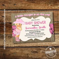 Cowgirl baby shower invitation blonde vintage pink burlap hot pink country chic shower party invite digital printable invitation 14049 by myooakboutique on Etsy