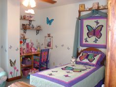 Kids Room Designs, Captivating Girls Bedroom Ideas With Butterfly Theme Wall Sticker Bedding Very Interesting: Adorable Butterfly Girls Room...