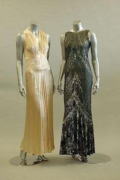 Dancing Casino extras---------Two 1930s evening gowns via Kerry Taylor Auctions.