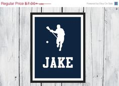 SALE Lacrosse  Sports Silhouette-  Lacrosse Player - Custom Print -  Personalized on Etsy, $6.30