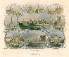 MÜNCHEN. Gesamtansicht, umgeben von 9 Teilansichten in ornamentaler Umrahmung.: - Franziska Bierl Antiquariat