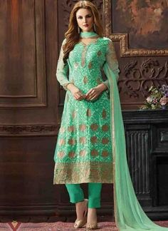 Sea Green Embroidery Booti Work Georgette Printed Designer Pakistani Suit http://www.angelnx.com/Salwar-Kameez/Pakistani-Suits
