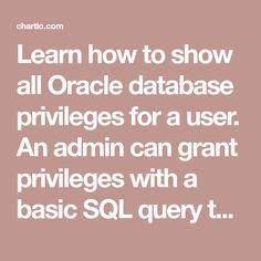 Learn how to show all Oracle database privileges for a user. An admin can grant privileges with a basic SQL query to an advanced script. We'll cover both the...