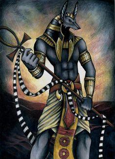 Anubis Era uno de los dioses más antiguos del panteón egipcio, y era un dios presente en el ritual de la muerte, A Anubis se le representaba como un hombre con cabeza de chacal.