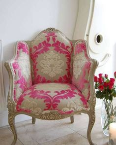 Shabby chic pink chair...love the patter - http://ideasforho.me/shabby-chic-pink-chair-love-the-patter/ -  #home decor #design #home decor ideas #living room #bedroom #kitchen #bathroom #interior ideas