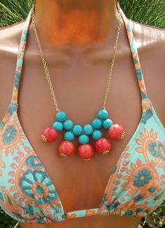 Stone Turquoise bib necklace with orange ceramic by cuppacoffee, $24.00