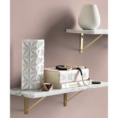 Home office: marble wall-mounted shelf. Smooth slab of Carrara-style white& marble showcases photos, art and objects of interest with natural cool. Levels out on industrial metal brackets with brass finish. Pink Bedroom Design, Pink Bedroom Decor, White Bedroom Furniture, Marble Furniture, Concrete Furniture, Furniture Ads, Smart Furniture, Furniture Websites, Furniture Removal
