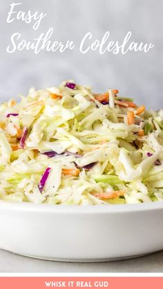Everybody loves how crunchy, creamy ,sweet and tangy it is. 5 mins prep and so tasty and easy! #southerncoleslaw #coleslawrecipe #coleslaw  Easy Salads, Healthy Salad Recipes, Side Dish Recipes, Easy Dinner Recipes, Coleslaw Recipes, Coleslaw Salad, Summer Salads, Dinner Ideas, Southern Coleslaw