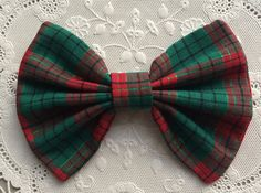 Christmas Hairbows Hair Bows Red Green Plaid with by thriftyvicki