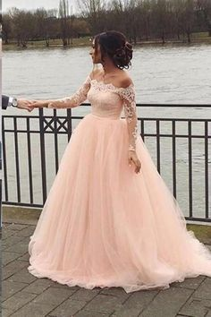 b5c174396008a Fashion Long Sleeves Lace Off the Shoulder Light Pink Wedding Dresses  Formal Prom Gown Dress LD1924