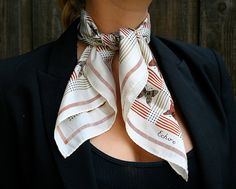 Vintage Butterfly Printed Scarf By Echo in Cream, Brown & Gray Silk Blend